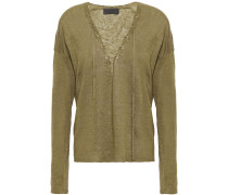Woman Lace-up Linen Sweater Army Green