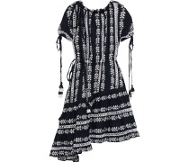 Asymmetric Off-the-shoulder Embroidered Checked Cotton-gauze Dress