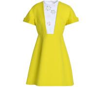 Woman Embellished Poplin-paneled Cotton-canvas Mini Dress Bright Yellow