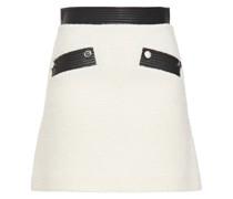 Faux Leather-trimmed Bouclé-tweed Mini Skirt