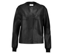 Leather Bomber Jacket Schwarz