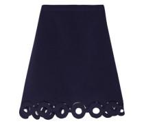 Mesh-trimmed cutout crepe mini skirt