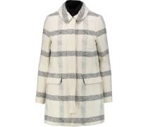 Plaid Cotton-blend Bouclé Coat Elfenbein