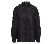 Bluse aus Ramie-organza mit Lochstickerei-besatz