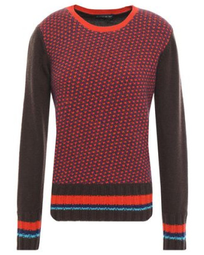 Woman Wool And Cashmere-blend Jacquard Sweater Brown