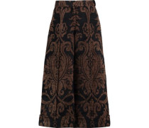 Cropped chenille wide-leg pants