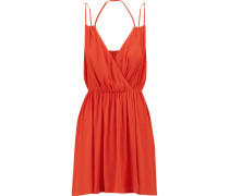 Porta Crinkled-crepe Mini Dress Papaya