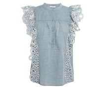Coralia Ruffled Broderie Anglaise Cotton-chambray Top