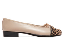 Leather And Printed Calf Hair Ballet Flats Beige