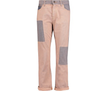 Patchwork Mid-rise Straight-leg Jeans Puder