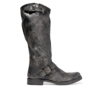 Veronica Distressed Leather Boots Schwarz