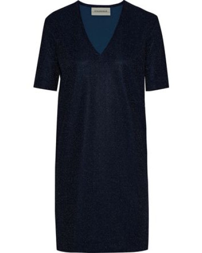 Glitasi Metallic Stretch-knit Mini Dress Indigo