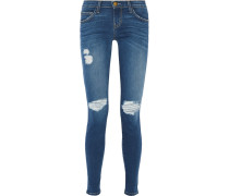 The Ankle Skinny Distressed Mid-rise Jeans Blau