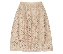 Resi Embroidered Faux Leather Skirt Beige