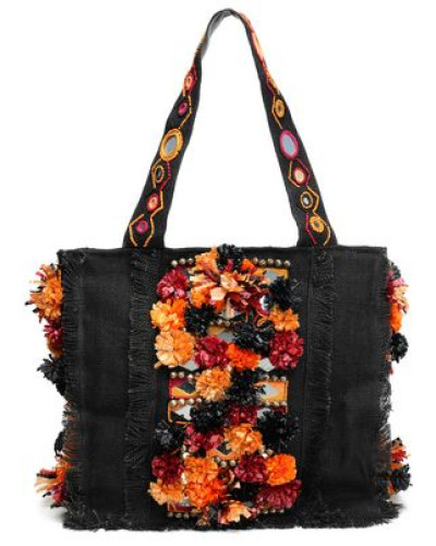 Embellished Woven Jute Tote Black Size --