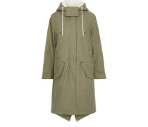 Penelope Faux Shearling-trimmed Cotton-canvas Hooded Parka Leaf Green
