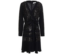 Mara Crepe De Chine-trimmed Sequined Tulle Dress