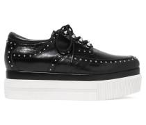 K Studded Croc-effect Platform Sneakers Schwarz