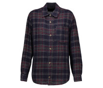 Kenzie Checked Wool-blend Shirt Mitternachtsblau