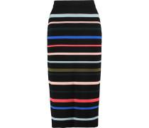 Striped Wool Midi Skirt Mehrfarbig