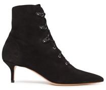 Lace-up Leopard-print Velvet Ankle Boots