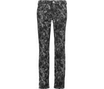 Printed Mid-rise Slim-leg Jeans Schwarz