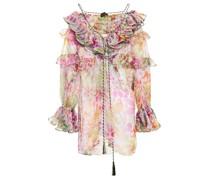 Ruffled Floral-print Silk-organza Blouse