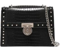 Studded Croc-effect Leather Shoulder Bag Black Size --