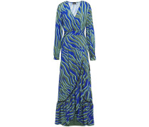Crystal-embellished Printed Woven Maxi Wrap Dress