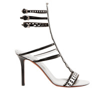 90 Two-tone Laser-cut Leather Sandals