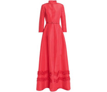 Belted Appliquéd Silk-faille Gown Papaya