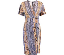 Snake-print cady wrap-effect dress
