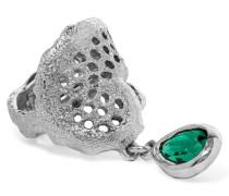 Silver-tone Crystal Ring Smaragdgrün