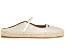 Woman Sienna Metallic Leather Espadrille Slippers Platinum