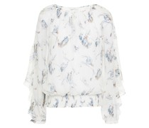 Kriston Ruffled Printed Silk-crepon Blouse