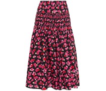 Shirred Floral-print Cotton-poplin Midi Skirt