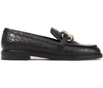 Accord Embellished Croc-effect Leather Loafers