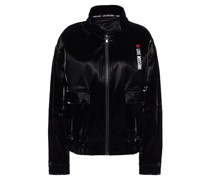 Embroidered Coated Cotton Bomber Jacket