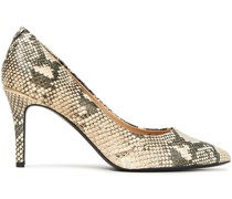 Randi Glossed Snake-effect Leather Pumps