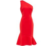 ausgestelltes Kleid aus Scuba mit Asymmetrischer Schulterpartie