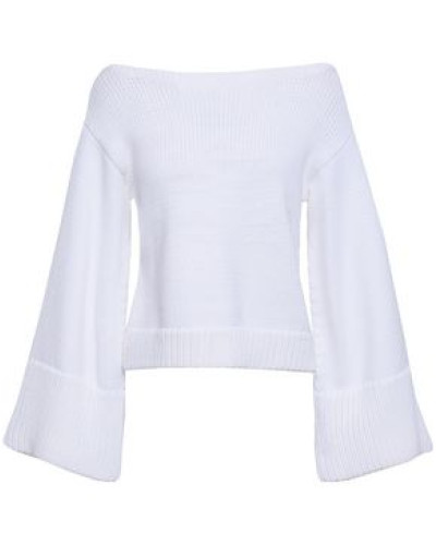 Cropped Cotton-blend Sweater White