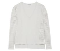 Pointelle-knit-paneled Jersey Top Hellgrau