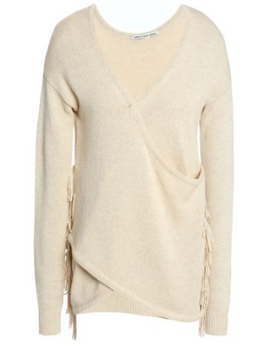 Wrap-effect Fringe-trimmed Cotton Sweater Beige