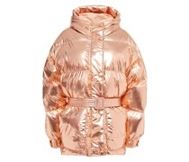 Michlin Belted Metallic Quilted Shell Hooded Down Jacket