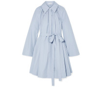 Pleated tton-poplin Mini Dress