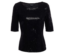 Flocked Sequined Stretch-jersey Top