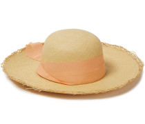 Woman Bow-embellished Canvas-trimmed Toquilla Straw Panama Hat Peach