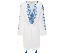Embroidered Linen-gauze Mini Dress