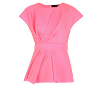 Shirley Pleated Wool-twill Top Pink