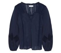 Bluse aus Baumwoll-voile mit Häkeleinsätzen